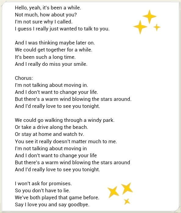I just want to see you tonight lyrics