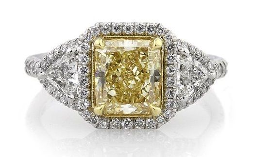 Mark Broumand 3.38ct Fancy Yellow Radiant Cut Diamond Engagement Ring