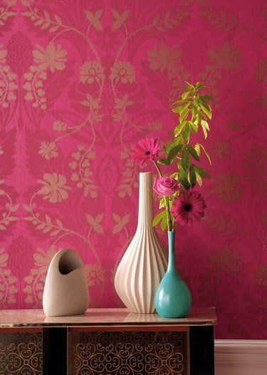 Hot Pink, Blue, and White | Shamana\'s bedroom ideas | Pink wallpaper ...