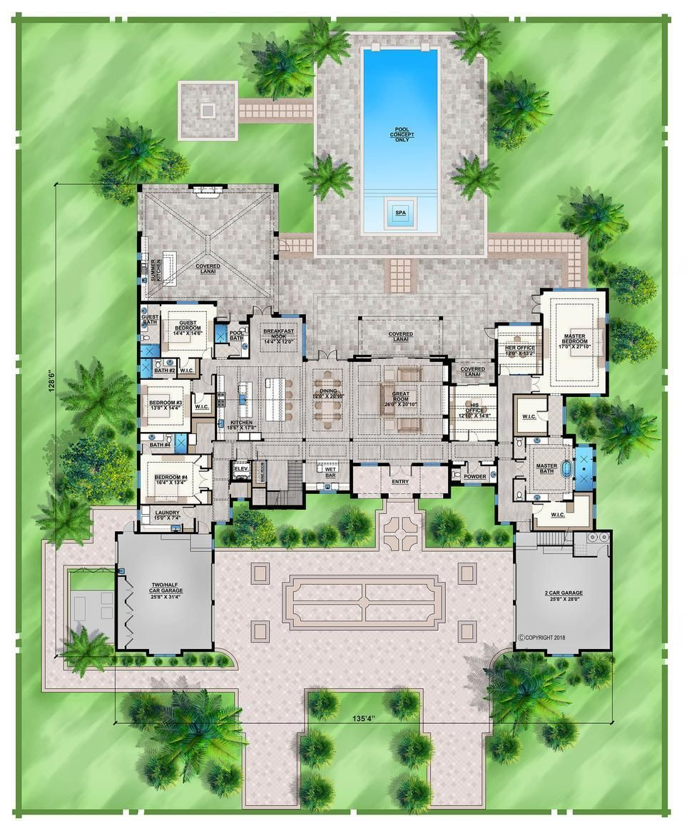 Home Plan 009 8285 8285 Heated Square Feet 7 Bathroom 7 Bedroom 4 Car Garage Homeplanmark Mansion Floor Plan Luxury House Plans Florida House Plans