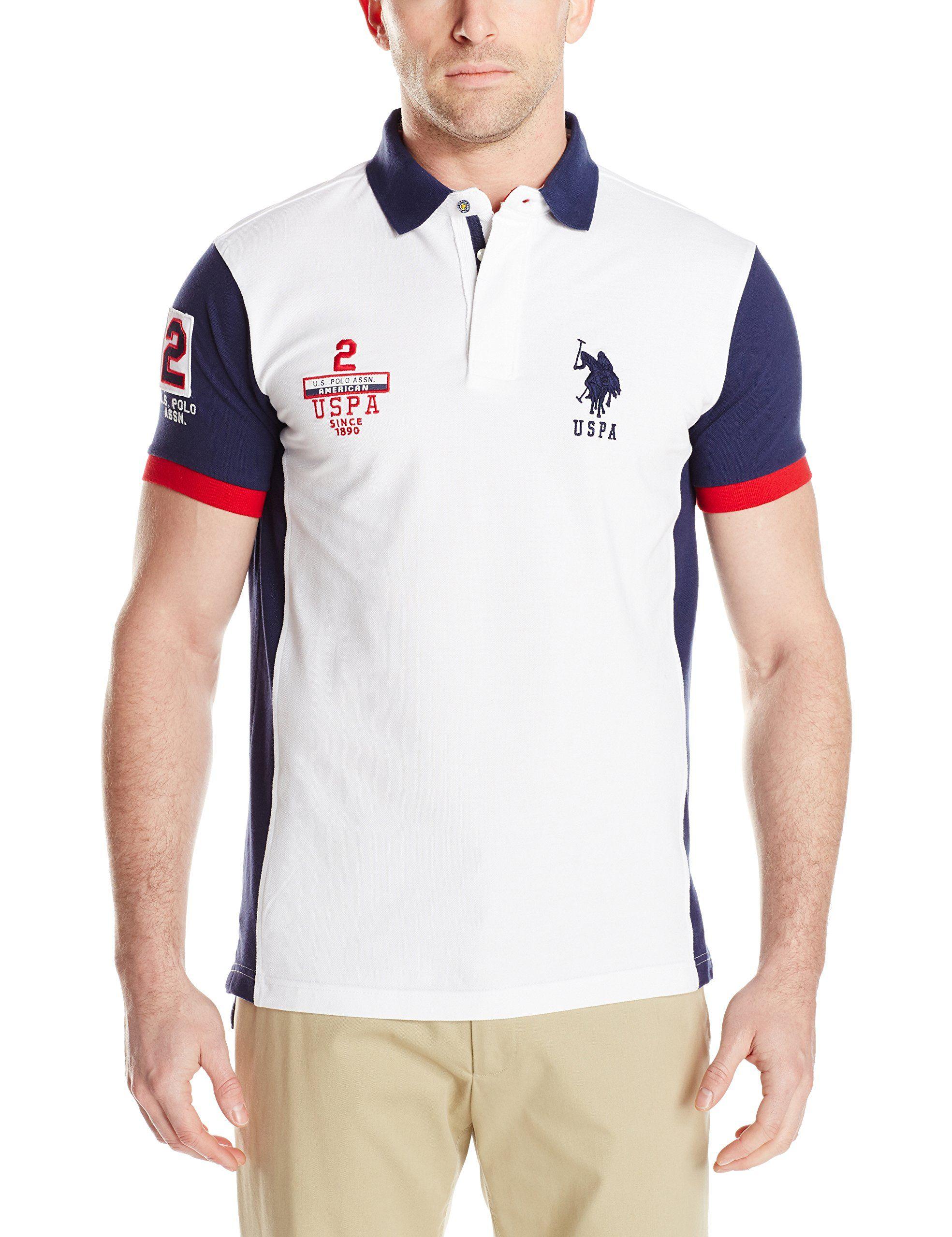 U.S. Polo Assn. Men's Color Block Slim Fit Pique Polo, White ...