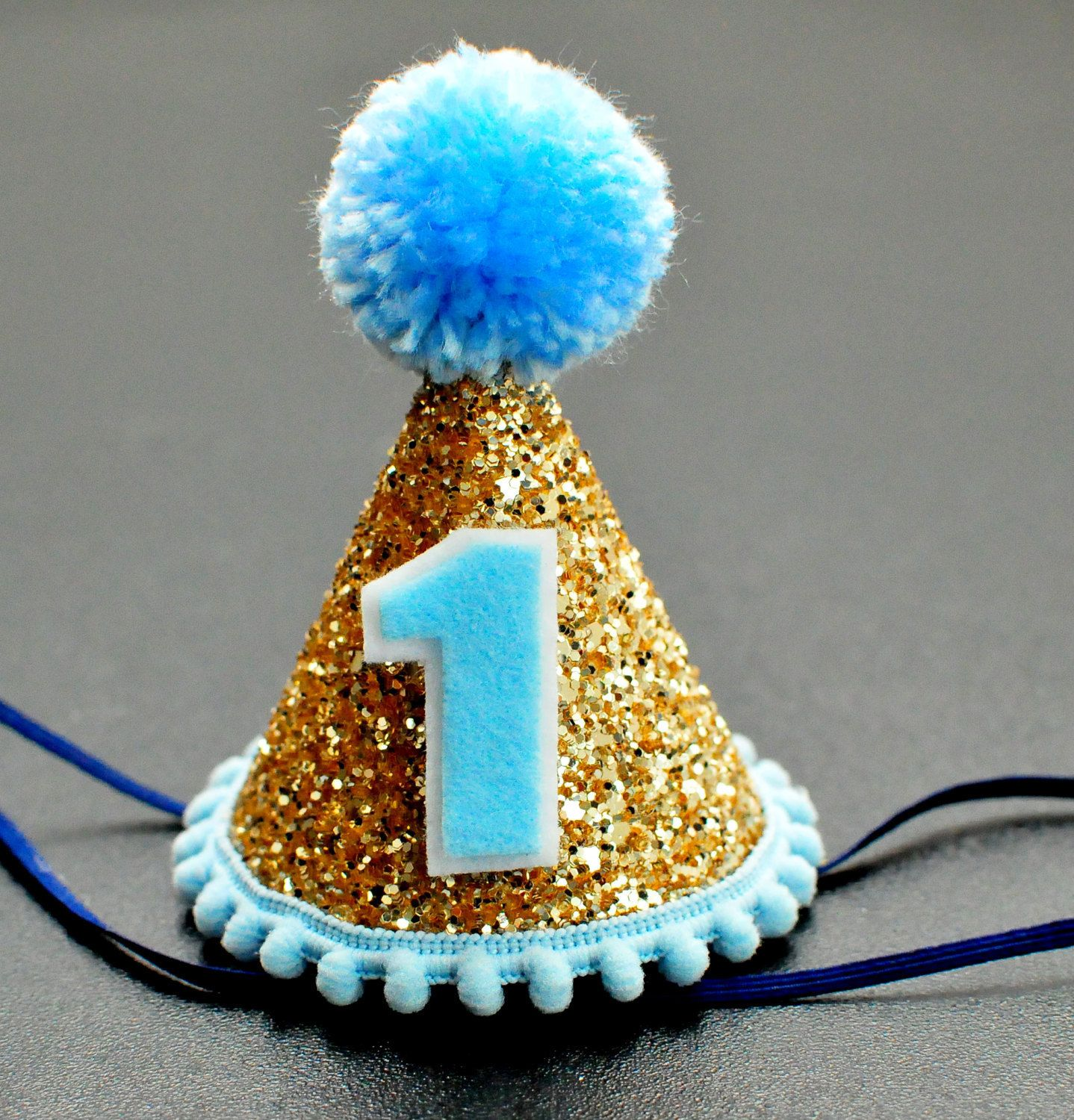 Birthday Mini Party Hat Baby Boy Cake Smash 1st Chunky Glitter Pale Gold Light Blue By LilWishenpoof On Etsy
