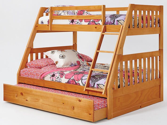 Perth Twin Over Full Bunk Bed Honey Bunk Bed With Trundle Bunk