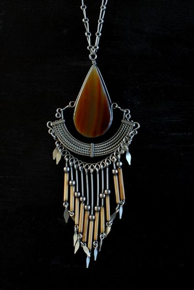 Spirit of Sonora Fringe Necklace- Note: the different applications of wire working.