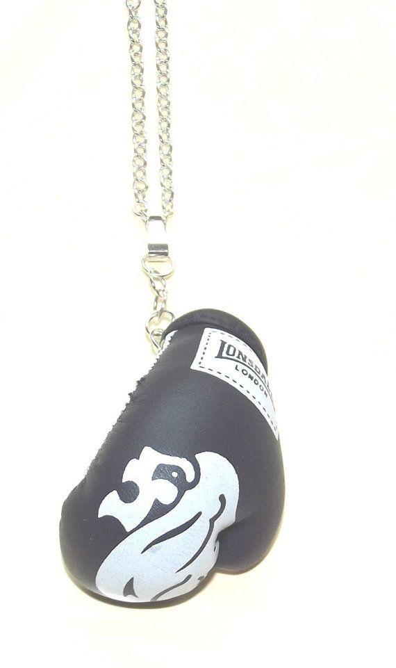 Boxing Glove NecklaceBoxing necklaceBlack by BunkysVintageCrafts