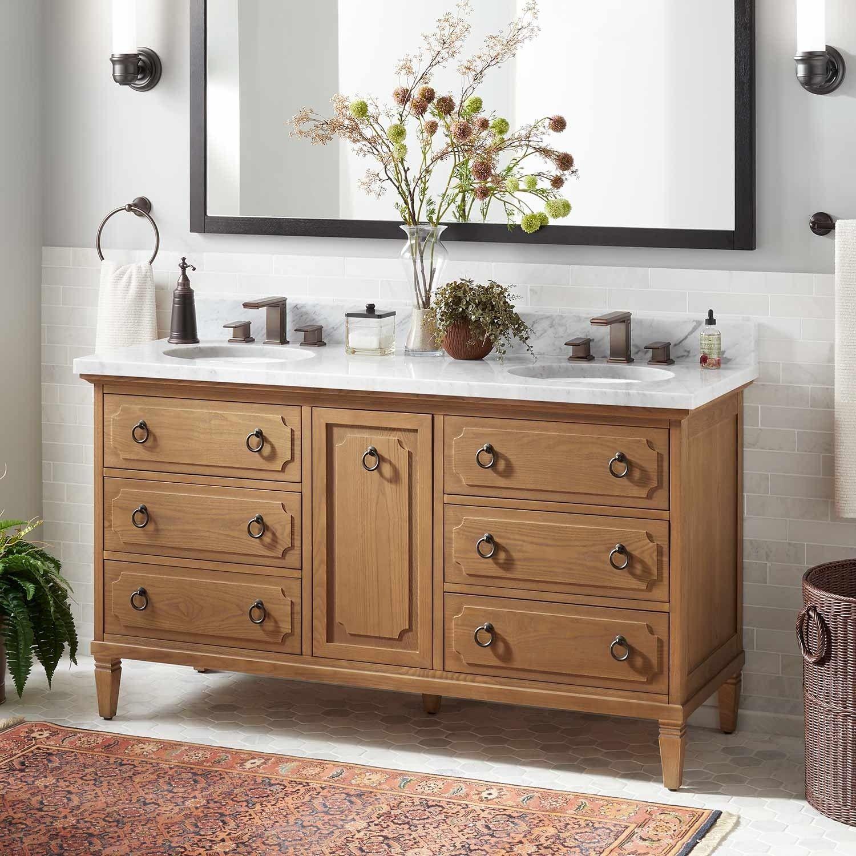 60 Dulce Double Vanity For Undermount Sink Oak Oak Bathroom Vanity Bathroom Vanity Oak Vanity Bathroom