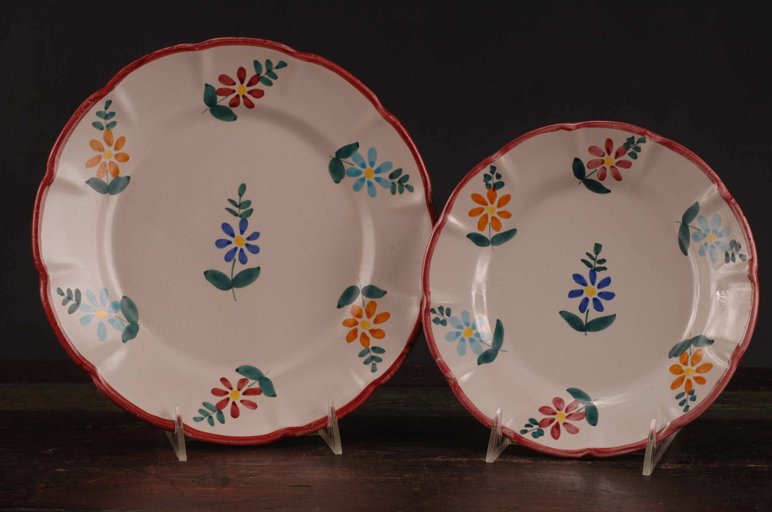 Gumps Italian Dinner Plate and Salad/Dessert Plate Red Border by dinaandpartners on Etsy & Gumps Italian Dinner Plate and Salad/Dessert Plate Red Border by ...