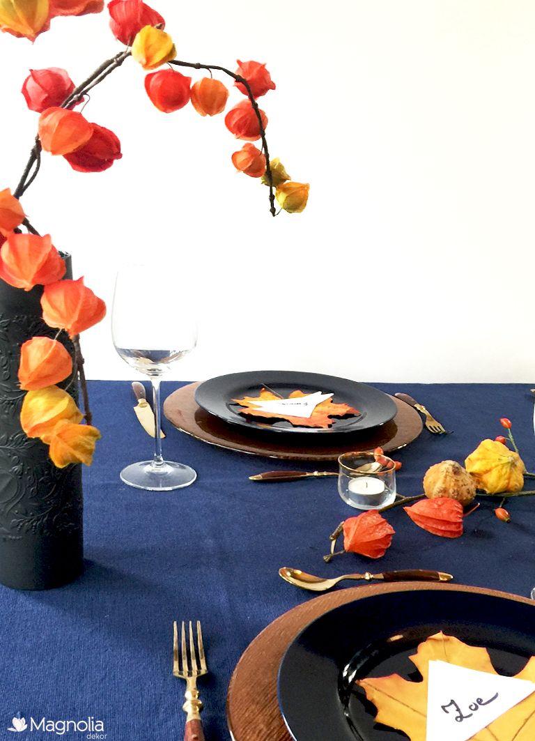 Tischdeko In Blau Und Orange Mit Kupfer Ist Ein Highlight Fur Den