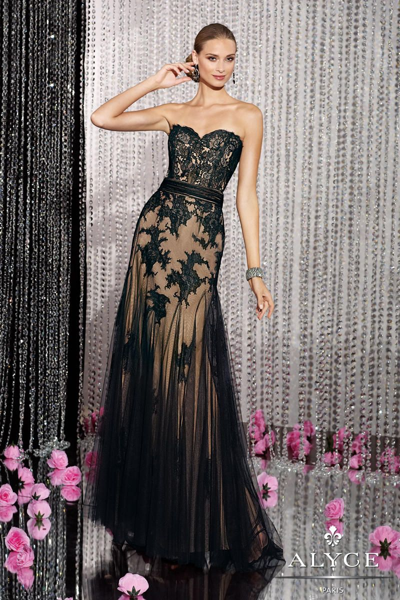 Couture black tulle lace alyce label dress prom