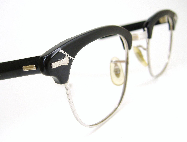 141ae12242 Vintage Mens 50s Shuron Horn rim Eyeglasses Eyewear Frame NOS Ronsir ...