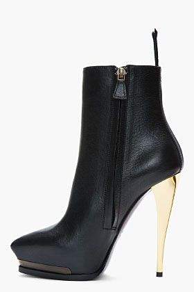 Heeled Lanvin Ankle Boots Gold Leather Class Of Shoes Black 1TrxTFqt