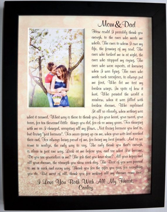 Gifts For Parents On Wedding Day Thank You Gift By Picmats
