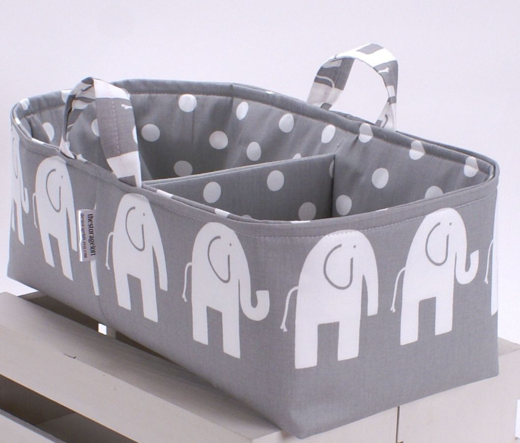 Xl Long Diaper Caddy Storage Bin Basket Container Organizer Grey Elephant Fabric 52 00