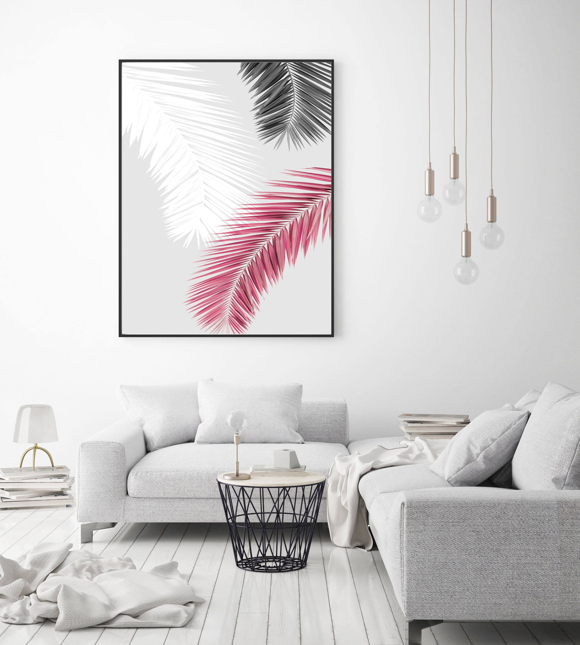 Palm Leaves Art Print, Abstract Wall Art, Palm Leaves Art