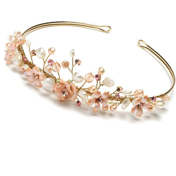 Gold and Pink Bridal Tiara, Floral Wedding Tiara Headband (€72) ❤ liked on Polyvore featuring accessories, hair accessories, jewelry, tiaras, crowns, gold bridal hair accessories, gold tiara, rose gold headband, floral crown headband and gold crown headband