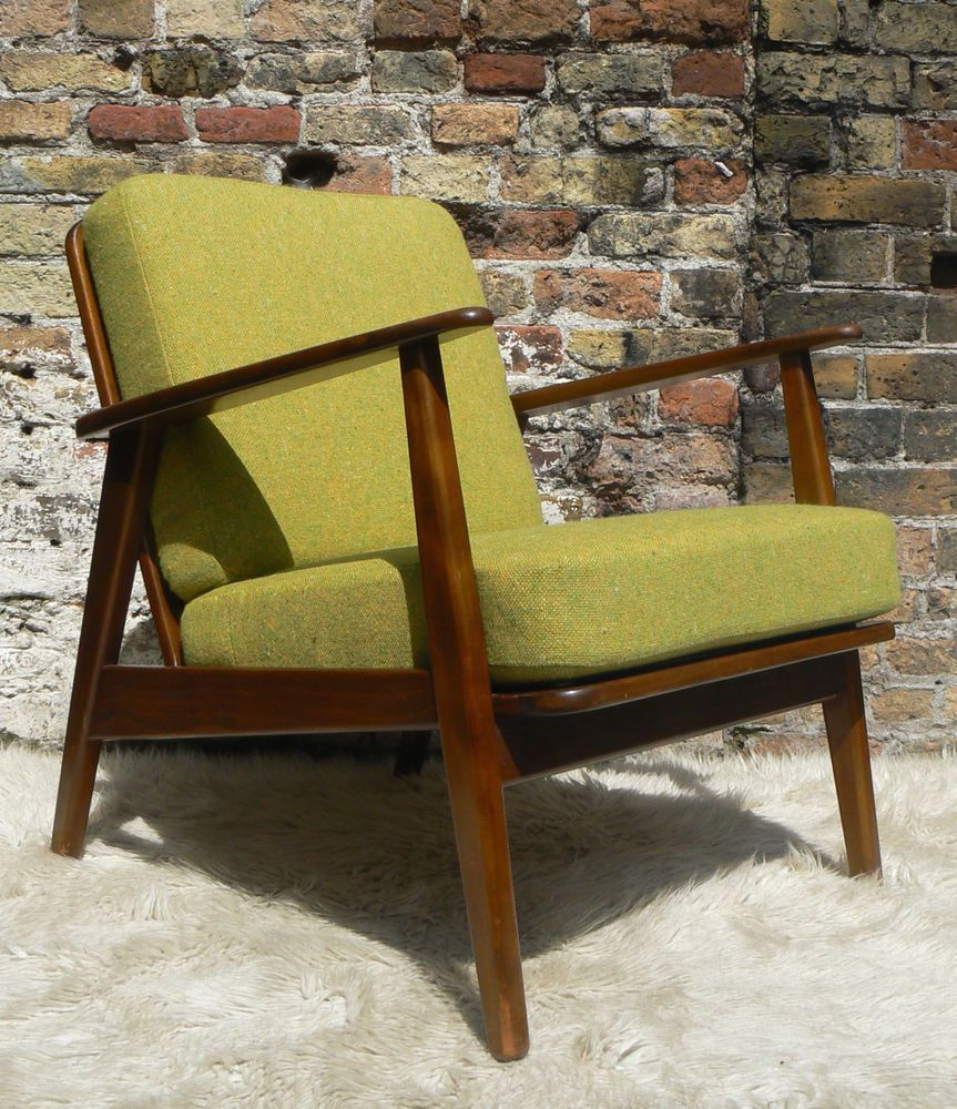 1960s Danish Armchair New Tweed Upholstery 50s 70s Retro Vintage