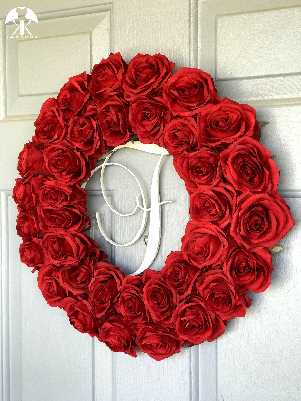 Rose Monogram Wreath Red Rose Wreath Red Door Wreath Red Wedding Wreath Holiday Wreath Wedding Gift Pick Rose Color Welcome Wreath In 2020 Red Wedding Centerpieces Red Rose Wreath Wedding Wreaths