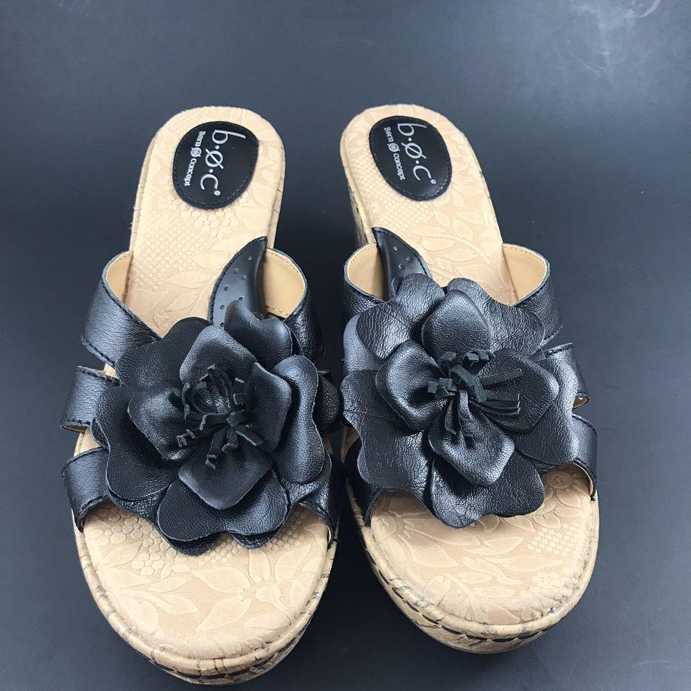 41250203da55 BOC Born o Concept Jonna Mule Wedge Heel Sandal 9 M W Black Flower ...