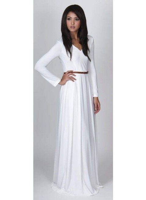 White Maxi Dresses With Sleeves Photo Album - Reikian