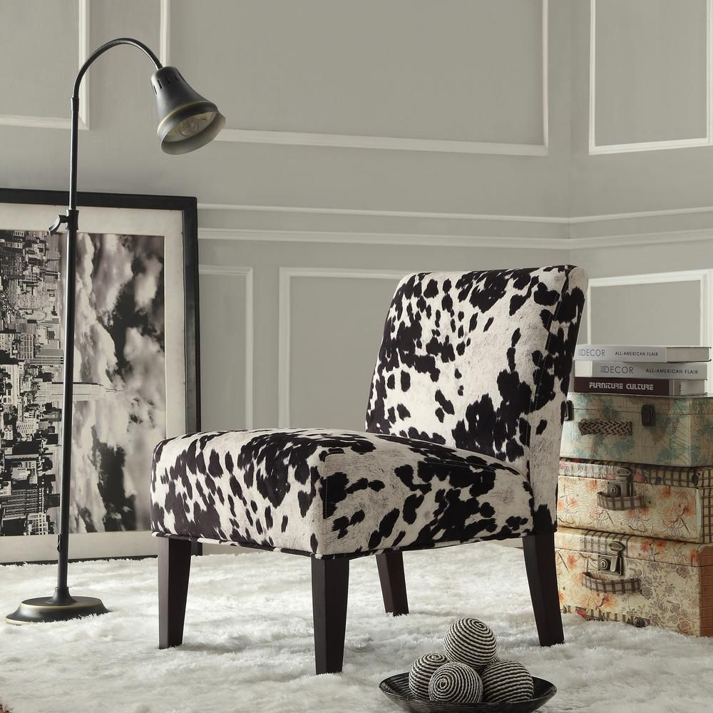Black Cowhide Accent Chair Brown Fabric Accent Chair Cowhide Fabric Living Room Chairs
