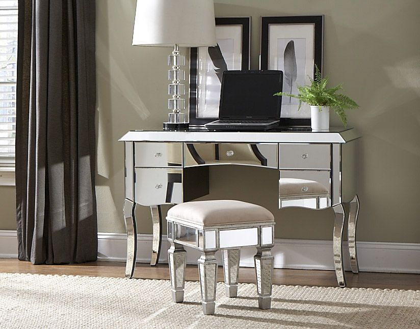 Mirrored Vanity Desk Set   Home Furniture Design. Image of  desk mirrored vanity table   Vanities   Pinterest