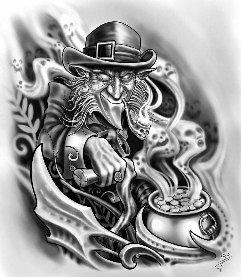 Pin De Rich Garcia Em Irish Tatuagem De Palhaco Tatuagem De Duende Tatuagem De Mago