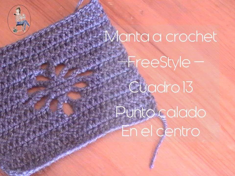 Manta a crochet Freestyle cuadro 13: punto calado en el centro ...