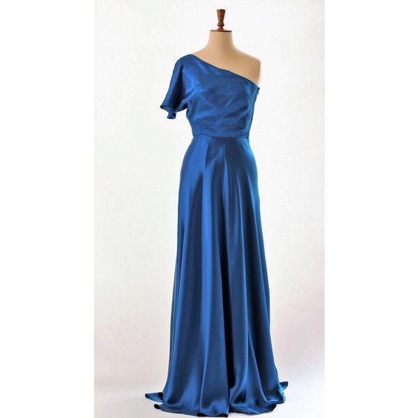 Blue Silk Dress Ball Gown Prom Dress Evening Gown Catwalk Dress Long ...