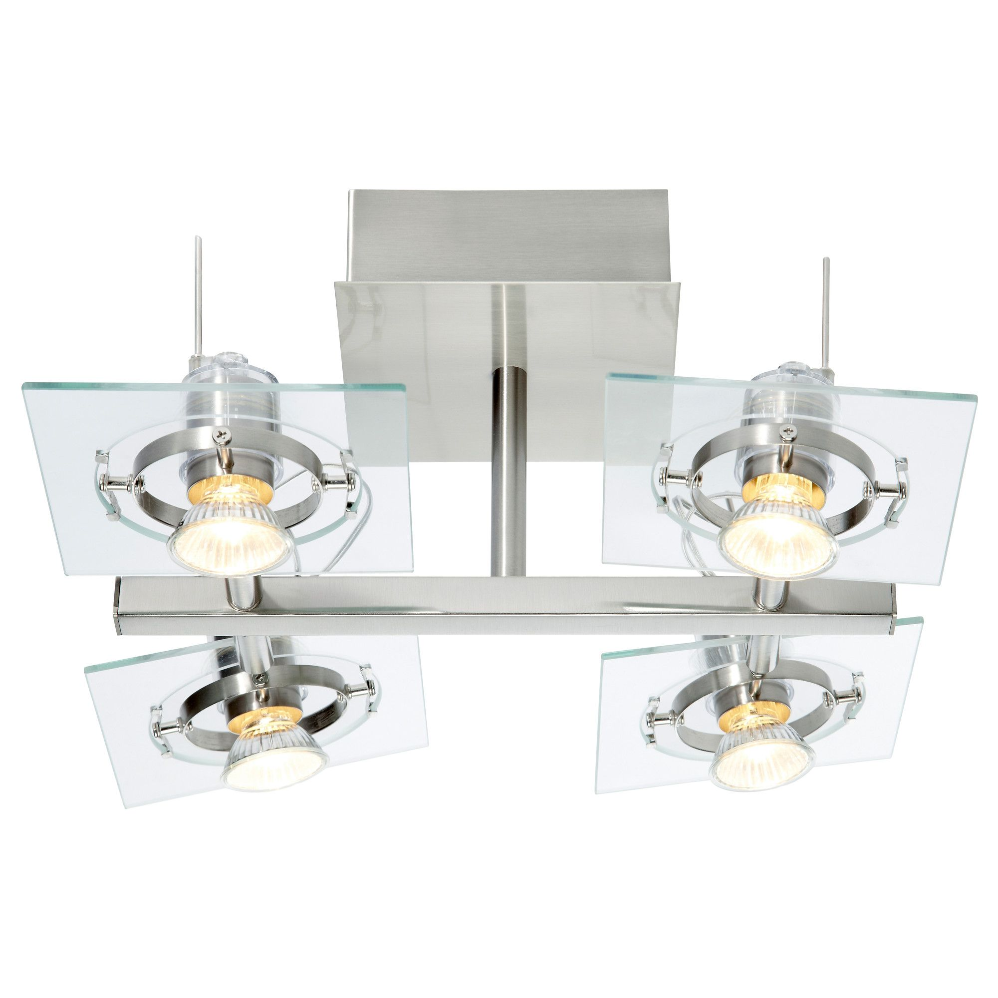 fuga ceiling light with 4 spotlights chrome plated clear glass