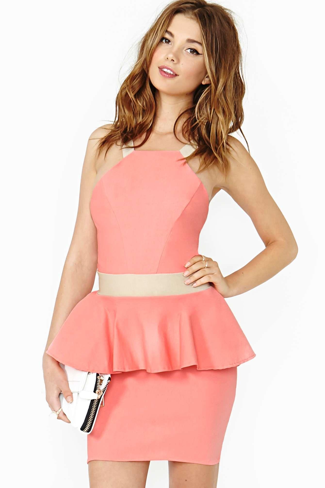 Sugar Rush Peplum Dress BRIGHT PEACH   moda   Pinterest
