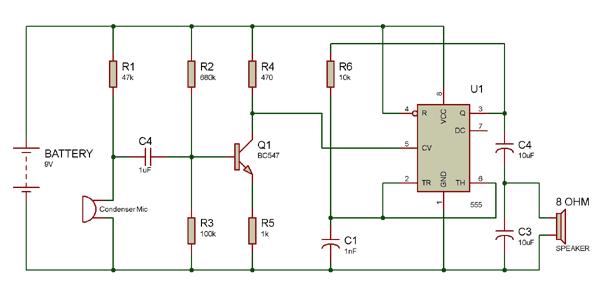 Audio Amplifier Circuit with 8 ohm speaker | Electronics | Circuit
