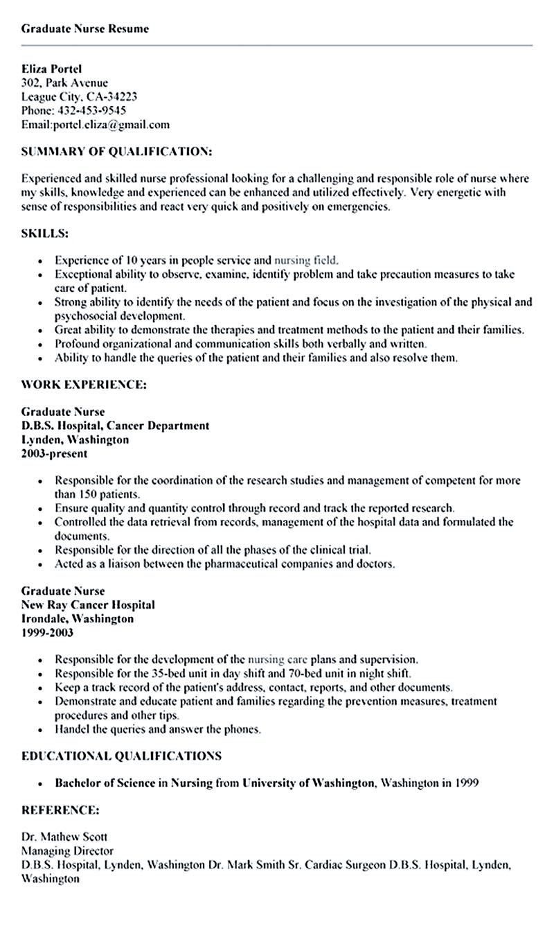 Resume Objective Examples For Nursing Student