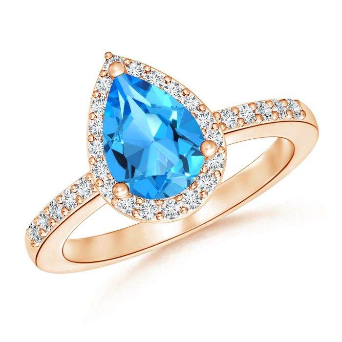 Angara Pear-Shaped London Blue Topaz Ring with Diamond Halo