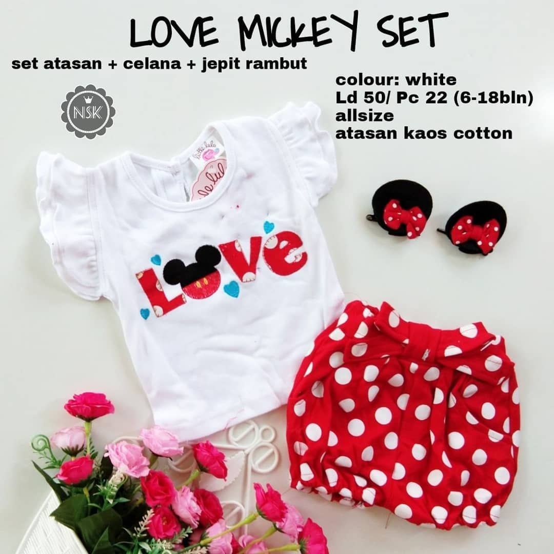 Love Mickey Set 70000 Warna White Pink Red Silahkan Chat Dulu Atasan Hp Untuk Tanya Ketersediaan