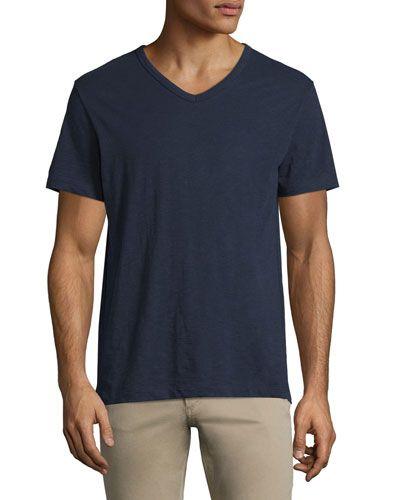 VINCE Slub Short-Sleeve V-Neck T-Shirt, Navy. #vince #cloth #