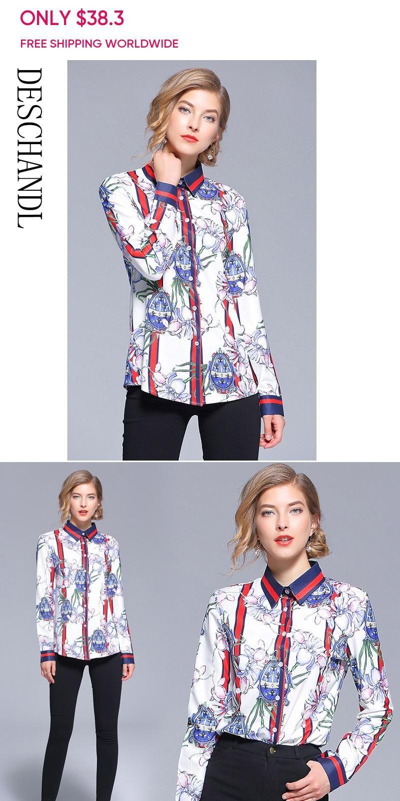 21cda5e7ea231 European New Style 2018 Autumn Blouse Fashion Designer Runway Plus ...