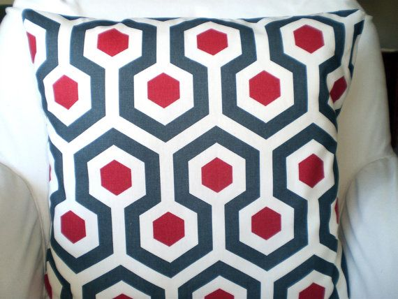 Red Gray Decorative Throw Pillows, Cushion Covers, Red Charcoal Grey Ivory Magna Geometric Design Set of two 18 x 18