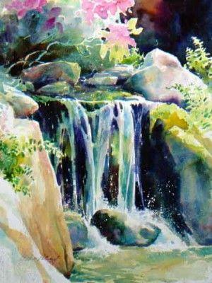 Julie Gilbert Pollard Waterfall Art Watercolor Landscape Art Painting