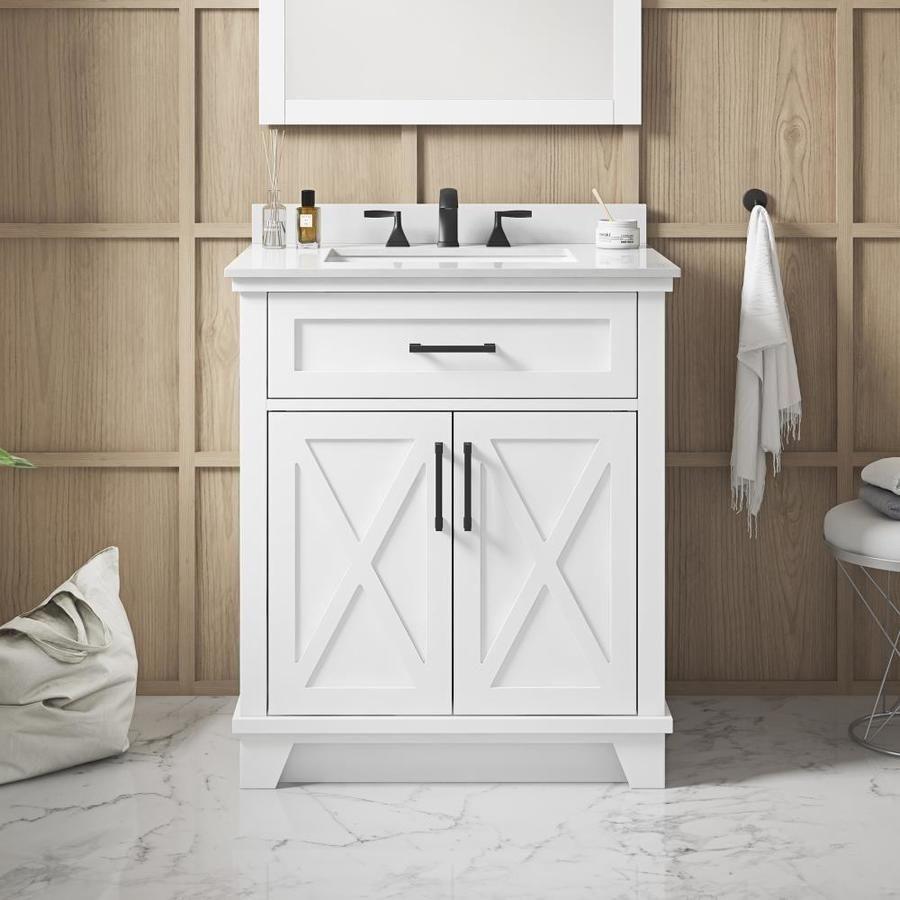 Allen Roth Oliver 30 In White Undermount Single Sink Bathroom Vanity With White Engineered Stone Top Lowes Com In 2021 Bathroom Sink Vanity Single Sink Bathroom Vanity Bathroom Vanity Tops [ 900 x 900 Pixel ]