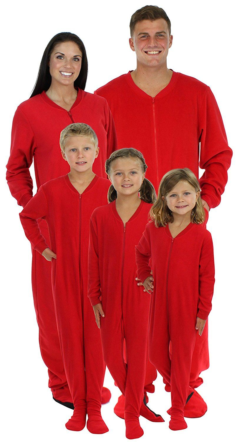 950870c59e AmazonSmile  SleepytimePjs Family Matching Red Fleece Onesie Pjs Footed  Pajamas for Family-Kids (STM717-K-RED-2T)  Clothing