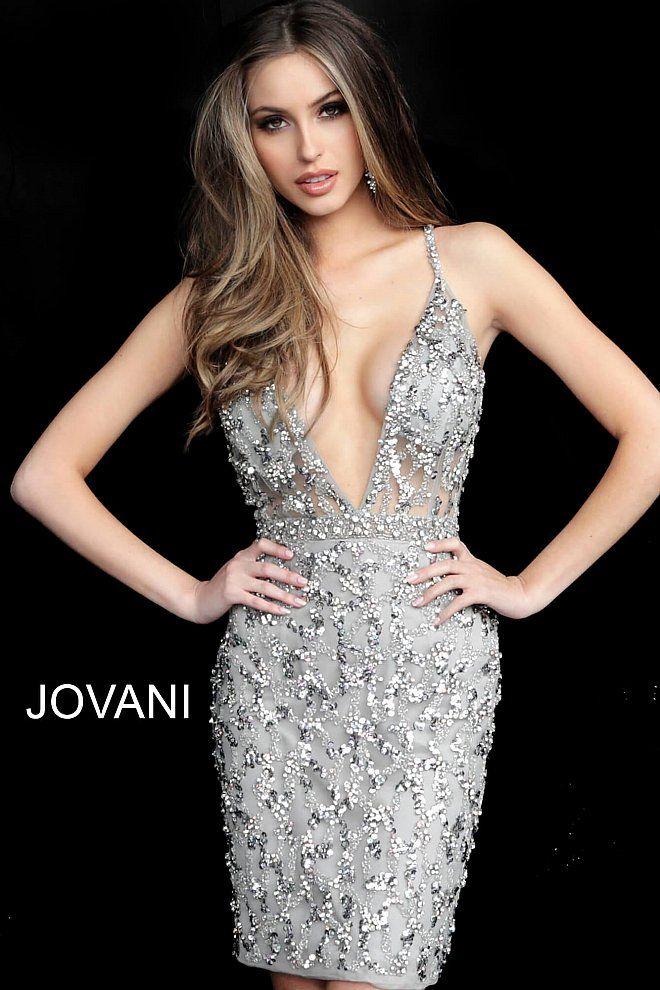 Jovani 62925 | Silver Backless Spaghetti Homecoming Dress