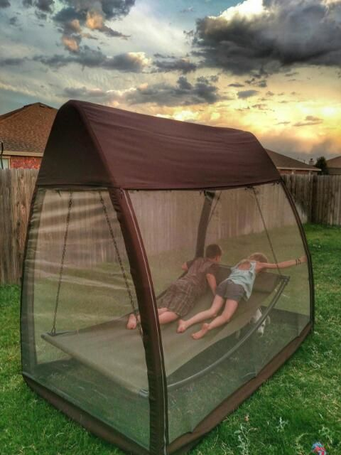 73629db81f0 Abba Patio Outdoor Canopy Cover Hanging Swing Hammock with Mosquito Net  7.6x4.5x6.7 Ft