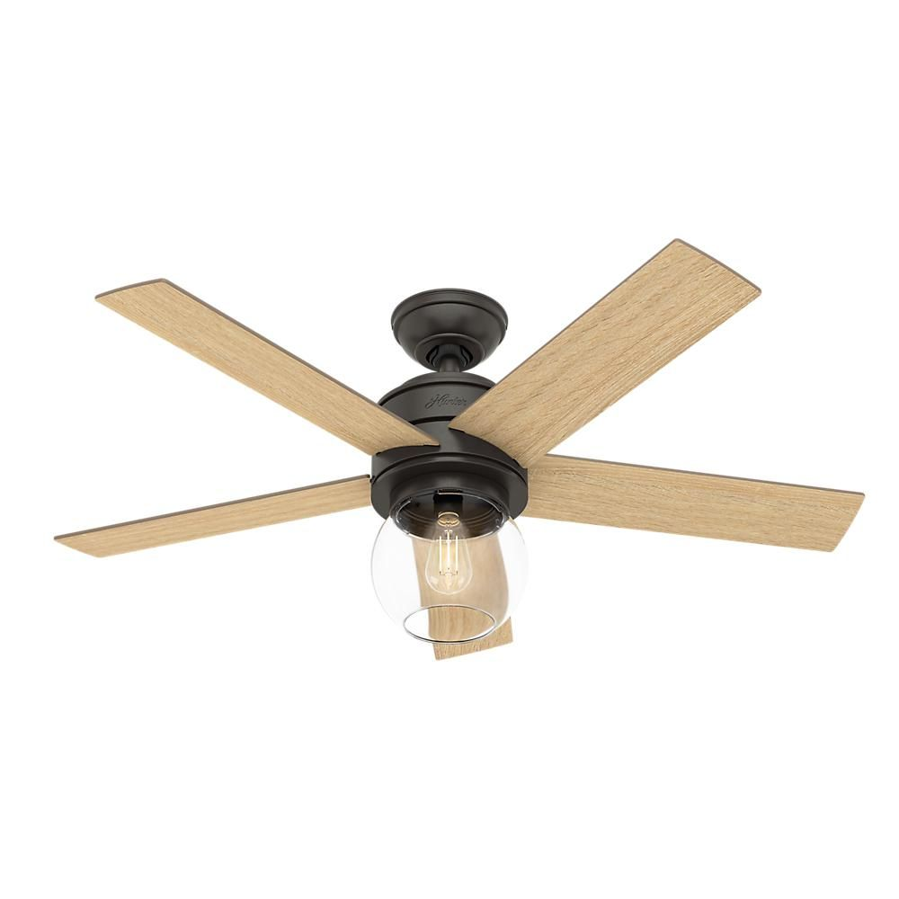 Hunter Leander 46 In Led Indoor Noble Bronze Ceiling Fan With