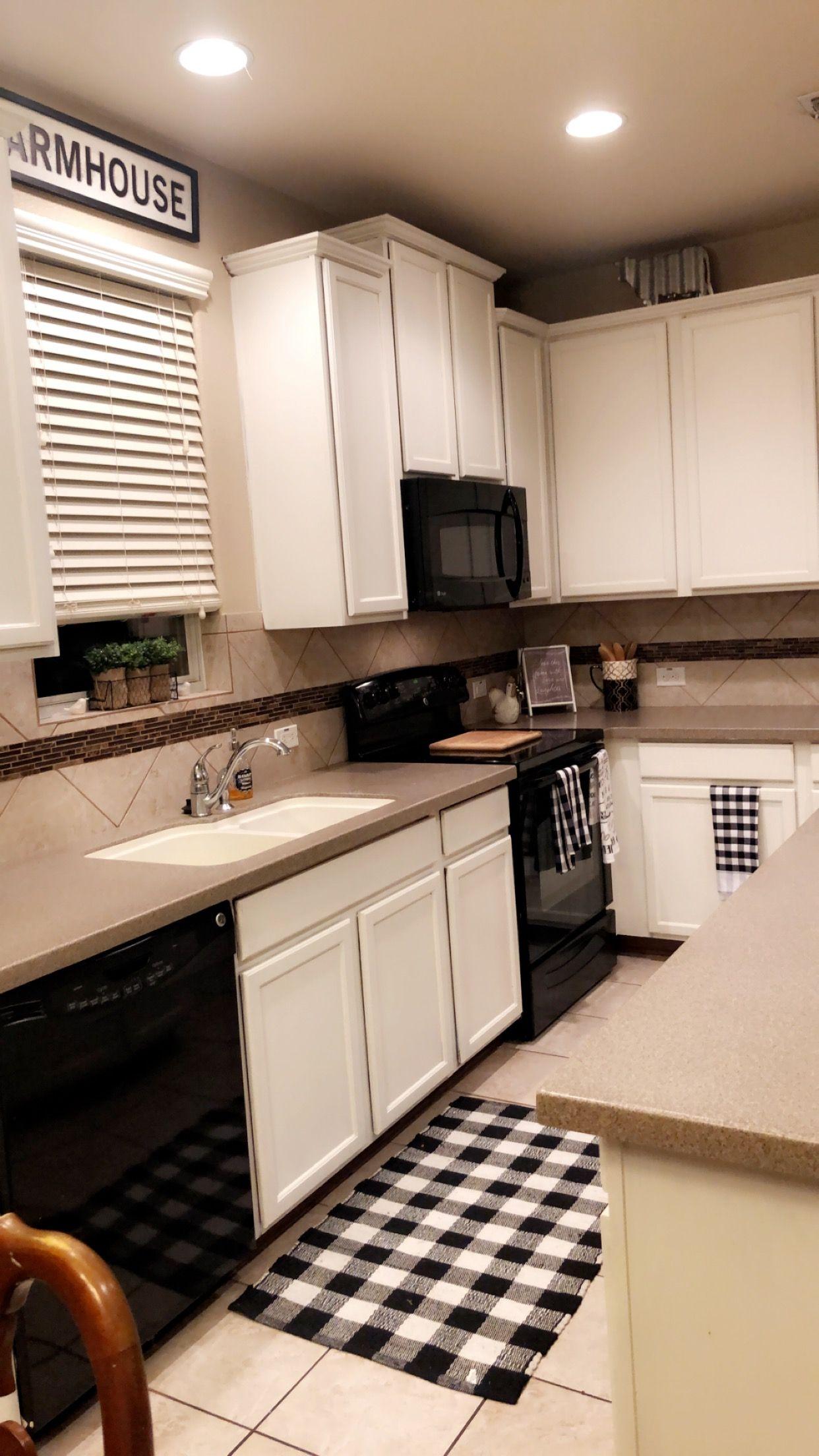 Simple Kitchen Black And White Plaid Farmhouse Tan Tones