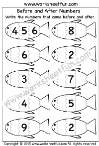 Before and After Numbers – 1-10 – One Worksheet | Kindergarten ...