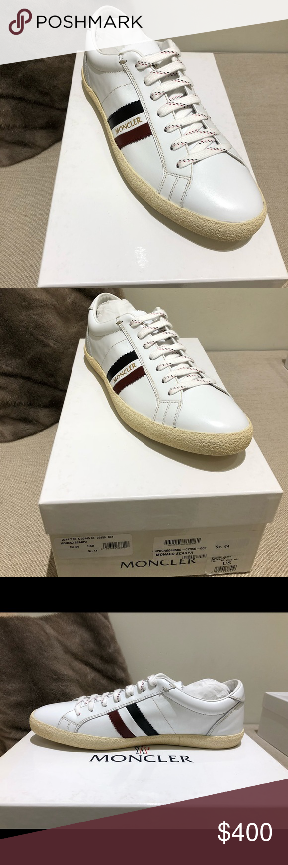 98665cf9389 AUTHENTIC Moncler Men's sneakers(Monaco Scarpa) genuine leather in white  Size: 44. They are Deadstock have never been worn or tried on!!
