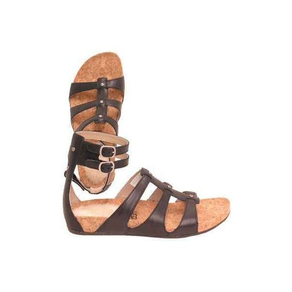 56a6a37d4ff UGG Australia Women's Sechura Black Leather Sandals ($80) ❤ liked ...