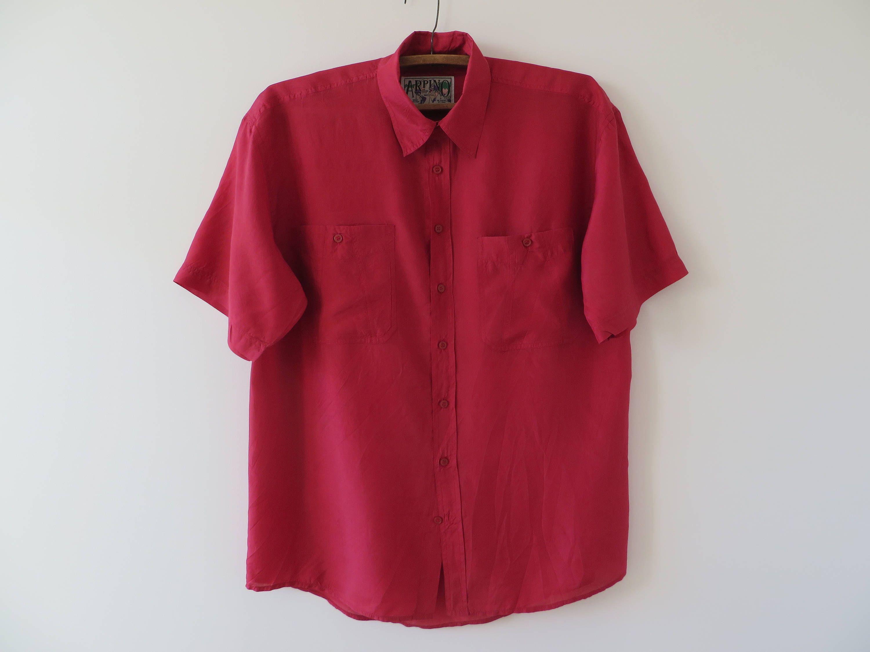 Size XL Men vintage red short sleeve summer shirt