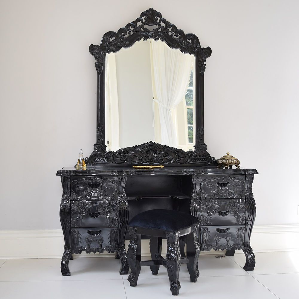 Bedroom furniture dressing table stools - French Rococo Dressing Table Mirror Black With Stool Italian Bedroom