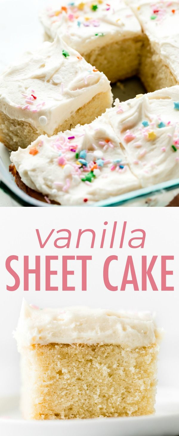 Vanilla Sheet Cake with Whipped Buttercream Frosting | Sally's Baking Addiction